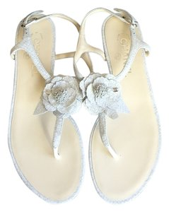 Chanel Crackle Leather Flower White Sandals