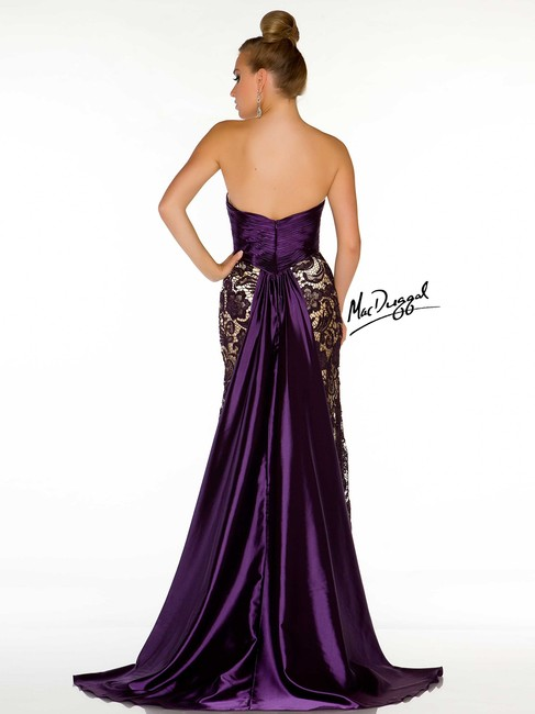 Mac Duggal Couture New Prom / Evening 78439m Dark Size 12 Lace Satin Strapless Dress
