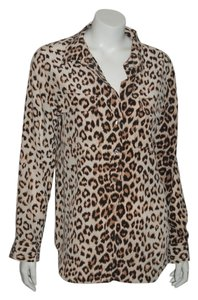 Equipment Silk Button Front Top animal print