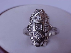 Estate Vintage 14k White Gold 3-stone Diamond Filigree Ring Early 1900s