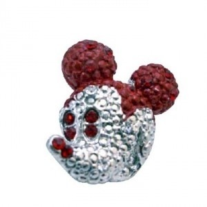 Cute Mickey Mouse Brooch Siam Red Crystals Sparkling Silver Casting