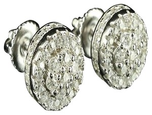 Other Icy Epic Cluster Pave Set Cubic Zircon Design Stud 14k White Gold Finish Earring