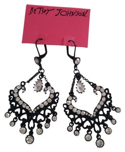 Betsey Johnson Betsey Johnson New LEVER Back Earrings Chandelier BLACK WITH CRYSTALS