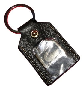 Dooney & Bourke Black Leather Key Ring With Gold Dooney & Bourke Duck