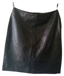 Rem Garson Leather Skirt Black