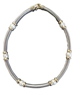 Chunky Silver Tone and Faux Pearl Choker Necklace
