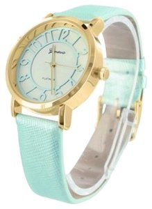 Geneva Slim Design Womens Gold Tone Luxury Style Water Proof Geneva Mint Green Strap
