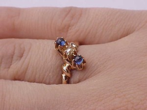 12k Rose Gold Antique Victorian Genuine Sapphires & Pearl Ring1800s