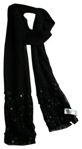 Mixit Versatile Black Lightweight Fall / Winter Scarf W/ Embellishments