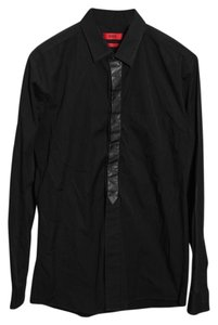 Hugo Boss Mens Dress Shirt Top Black