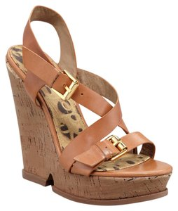 Sam Edelman Josie High Strappy Camel Wedges
