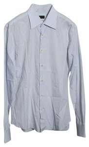Valentino Slim Fit Mens Dress Shirt Top White/Blue