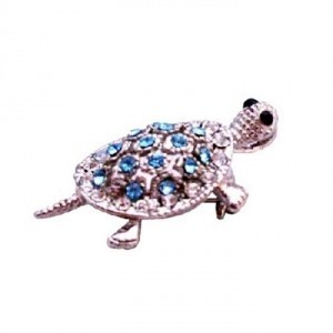 Silver Blue Aquamarine Crystals Turtle Casting Inexpensive Pendant Brooch/Pin