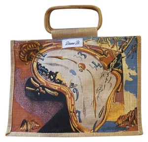 Diane B. Tote in Natural With Blue, Yellow,& Orange Accents