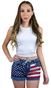 Gap Denim Vintage American Flag Embellished Reworked Mini/Short Shorts Red, White, Blue