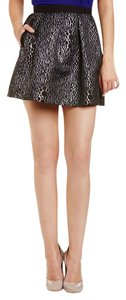 French Connection Mini Metallic Animal Print Full Sparkle Mini Skirt Black