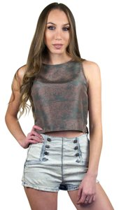 Claudie Pierlot Silk Crop Top Grey, Pink