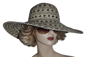Merona Natural/Blue Diamond Woven Wide Brim Floppy Resort Hat