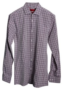 Hugo Boss Slim Fit Plaid Dress Shirt Top Purple