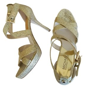Michael Kors Gold Prom Kate Middleton Strappy Gold Glitter Formal