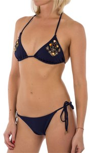 Balmain New Balmain Fashion Designer Sexy Triangle String Bikini Set Navy Gemstones Size US L IT 46 RETAIL $ 398