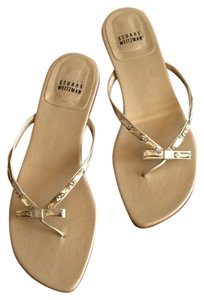 Stuart Weitzman Bow Jewel Flip Flop Summer Gold Sandals