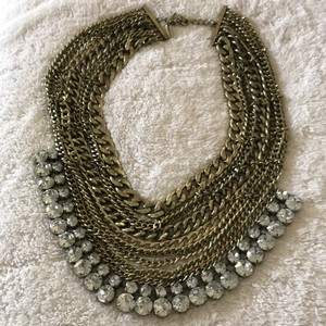 BaubleBar BaubleBar Gold Chain Bib And Rhinestone Necklace
