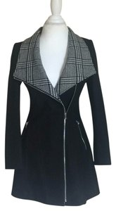 Guess Black with black and white Gingham detail Jacket