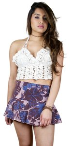 Heart Moon Star Mini Floral Summer 90s Vintage Mini Skirt Purple, Blue