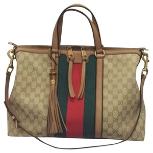 Gucci Tote in Camel and Dark Brown