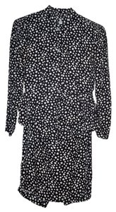Robert Janan Cocktail Polka Dot Rhinestones Ruffles Silk Dress