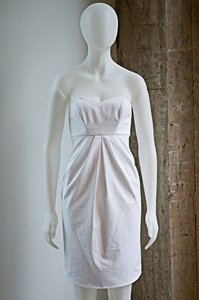 BHLDN White Cotton Richard Ruiz Seersucker J.crew Bachelorette Shower Strapless Beach Destination Bridesmaid/Mob Dress Size 2 (XS)