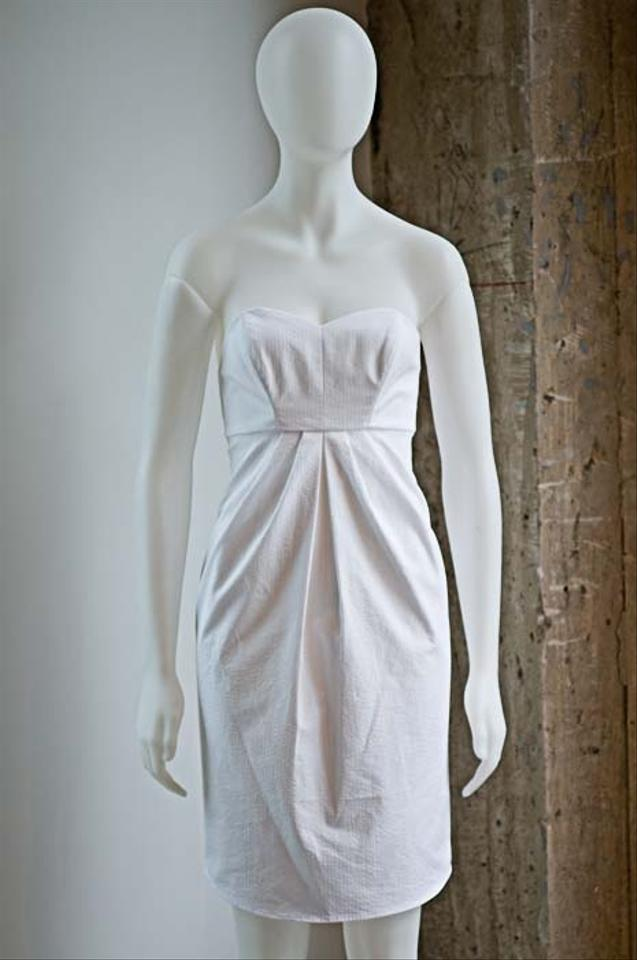 Bhldn white cotton richard ruiz seersucker for J crew beach wedding dress