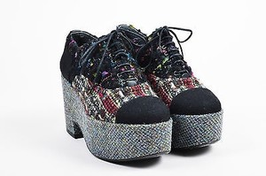 Chanel Black Tweed And Boucle Lace Up Platform Multi-Color Flats