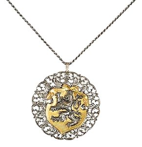 Miriam Haskell Vintage Miriam Haskell Silver Gold Tone Griffin Coat Of Arms Pendant Necklace