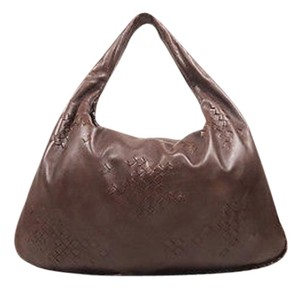 Bottega Veneta Dark Leather Woven Patch Hobo Bag