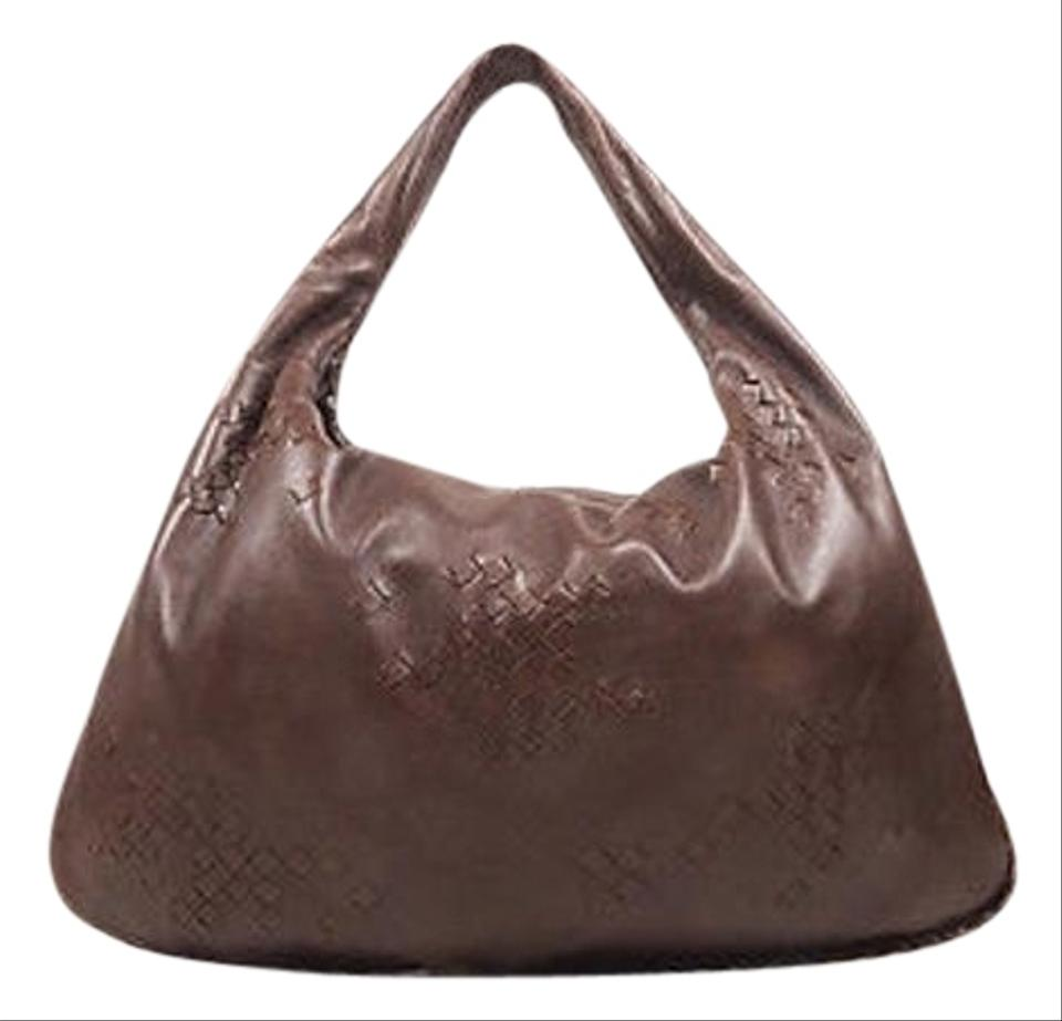 Bottega Veneta Dark Brown Leather Woven Patch Hobo Shoulder Bag ...