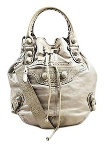 Balenciaga Taupe Lambskin Leather Giant Covered Brogues Pompon Handbag Cross Body Bag