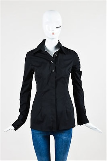 Walter Voulaz Black Rhinestone Embellished Button Down Long Sleeve Shirt #14668579 - Blouses outlet