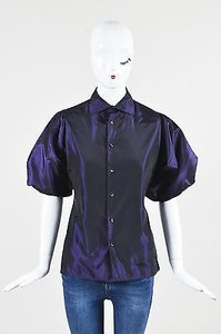 Ralph Lauren Silk Satin Half Sleeve Shirt Top Purple