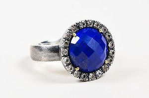 Rene Escobar Sterling Silver Lapis White Sapphire Round Cocktail Ring