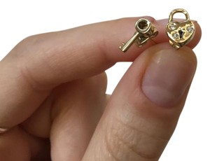 Coach Heart and Key Padlock Stud Earrings