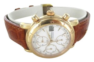 Movado MOVADO 1881 18K ROSE GOLD CHRONOGRAPH WATCH AUTOMATIC 40A7871 DATE LEATHER ROUND