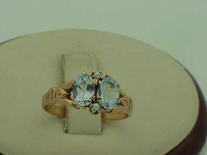 Victorian 10k Gold Genuine Aquamarines & Pearl Ring Late 1800s