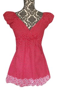Dolled Up Adorable Fun & Flirty W/ Embroidered Hem Top Red w/ white dots