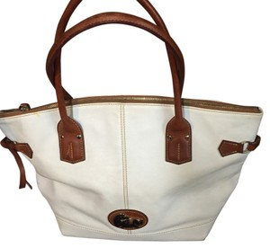 Dooney and Bourke Leather Zipped Tote Tote in White/Brown