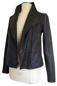 Vince Leather Draped Front Asymmetrical Front Longsleeve iron Leather Jacket