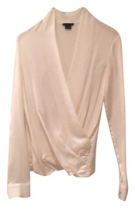 Theory Drape Draped Silk Longsleeve Top Ivory