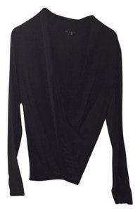 Theory Longsleeve Drape Draped Silk Top Black