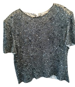 Papell Boutique Top Silver Metallic Beaded